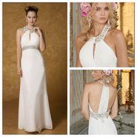 Cheap White Chiffon Grecian Style Wedding Dresses Scoop Neckline Rhinestones Sequins Elegant Beach Wedding Bridal Dresses Floor Length Handmade