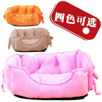 Wholesale Super Soft Bowknot Bed For Pet Dog High Quality Candy Color Large Big Dog Winter Warm House Dog Harness