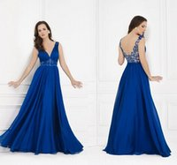Wholesale Royal Blue Long Mother of the Bride Groom Dresses Sexy V Neck Chiffon Beading Sequins Crystals Appliques Champagne Tulle A Line Formal