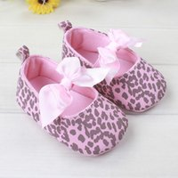 baby flats - 2015 Kids Girls pink leopard Bowknot first walker shoes Baby girl anti slip flat shoes Children s casual shoes