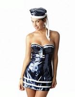 Wholesale Sexy Uniform Tubes - Sexy PVC Uniform Women Sailor Suit Outfit Dress Plus Size White Tube Top Bandeau Top Tight Hat Sets Erotic Lingerie Role Play JIAOLUN
