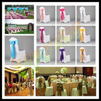 Wholesale wedding party hotel chair back flower bow satin chair back yarn decorative ribbon flower props