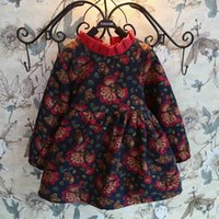 Wholesale 2015 Christmas Girls Dresses Cotton Velvet Thicken Winter Pleated Collar Flower Print Princess Girl Dressy babies Clothes baby girls dresses
