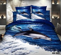 bedspread sets wholesalers - D Dolphin blue ocean California king bedding sets quilt duvet cover bedspread fitted bed in a bag sheets cotton queen size