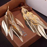 Wholesale Luxury Top Star Huggie Dangle Earrings Gold Plated Leaf Women Dangle Earrings Party Jewelry Christmas Gift