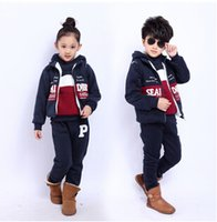 Wholesale Plus thick velvet winter children set Parure cotton children sets coat Top quailty children set windproof ski Kids
