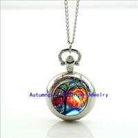 antique bubble glass - Fairy Bubble Pocket Watch Mini Glass Locket Necklace Style Retro Vine Pocket Watch Necklace WT