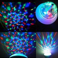 Wholesale Colorful Rotating Light rgb led bulb E27 W AC85 V LED Mini Party Light Crystal Magic Ball Bulb christmas light ceiling lamp