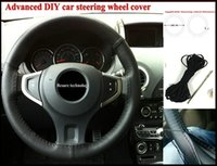 Wholesale quality Or pc Black Color DIY Car Steering Wheel Cover With Needles Thread Genuine Artificial leather
