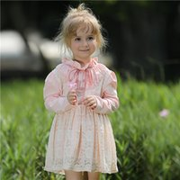 belted turtleneck dress - Pettigirl Retail Autumn Pink Lace Girls Dress With Collar Belt And Cotton Baby Dresses Children Casual Clothes For Kids Clothes GD80720