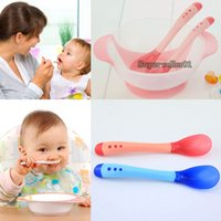 baby feeding spoon container - Food containers Grade Baby Suction Bowl Temperature Colour Changing Spoon Feeding Tableware Bowland bowl and Fork Spoon
