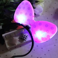 accessories mouse decor - Mouse Light up Led Bows Headbands Birthday Party Girls Hair Accessories Halloween Dark Lighted Rave Toy Christmas Decor