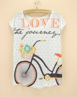 bicycle dress - novelty styles bicycle print tshirt women summer new design dress girl loos top tees fashion women s t shirts hot sale