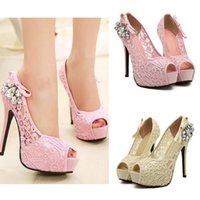 toe shoes - 2015 New Fashion Women Pumps Sandals Peep Toe Stiletto Platform Lace Rhinestone Elegant High Heels Shoes Beige Pink SW040