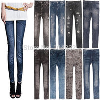 Wholesale East Knitting New Stylish Lady s Gray Denim Like Faux Jean Pants Leggings Casual Leggings Denim Pencil Pants