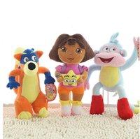 wholesale dora - 3pcs set Dora the Explorer plush boots plush Monkey plush Swiper Fox dora Doll Toys Freeshipping