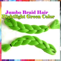 Wholesale new color arrive pc inch g pc highlight green Kanekalon jumbo braiding hair weave synthetic xpression ombre braiding hair