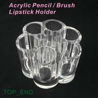 Wholesale Crystal Clear Acrylic Pen Pencil Lipstick Make up Brush Holder Compartments Storage Box Dressing Desk Hotel