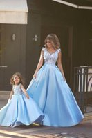 Wholesale Vintage Light Blue A line Flower Girl Dresses For Weddings Girl Mother And Daughter Dresses Girls Pageant Dresses Communion Dresses BA1763