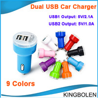 Wholesale Newly Micro Auto Universal Dual USB Car Charger For all USB electric appliance V A A Mini Adapter DHL