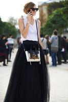 maxi - 2015 Fashion Black Women Skirt Multideck Tulle Floor Length Long Bouffant Princess Maxi Plus Size High Waist Street Skirt Fast Shipping