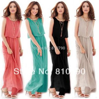 Cheap PLUS Size S~XXXL Women Ladies Boho Maxi Dress Chiffon Sleeveless Girl Dresses 8 Colors Pleated Long Sundress Lady Casual Dress