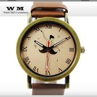 antique print dress - Antique brown leather Women Dress Watch dancing girl print Ladies Quartz Watches PU Strap analog Casual watches New WA0157X