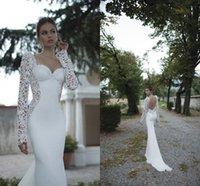 Cheap Berta Winter Ivory Lace Illusion Long Sleeve Open Back Mermaid Berta Winter 2014 Wedding Dresses Sweetheart Court Train Satin Wedding Bridal