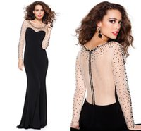 Wholesale Sheath Long Sleeve Scoop New Prom Dresses Sheer Beaded Sequined Zipper Evening Gowns Black Nude Full Length Formal Dresses L0273