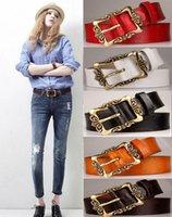 Wholesale 5pcs new fashion brand faux leather belts for women vintage style female waistband metal pin buckle ladies designer belts HX