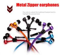 Wholesale High quality Metal Zipper Headphone In Ear mm round head In Ear Zip Earphone Control Talk Metal Earphones for cell phone iphone Samsung