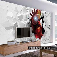amazing wallpapers - 3D Iron Man Photo Wallpaper Custom Wall Murals Amazing Wallpaper Interior Art Decoration Boy Kids Bedroom Living room TV background wall Art