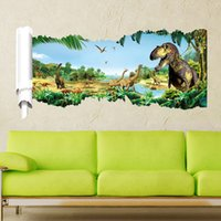 animate chart - 3 d animated cartoon Jurassic park dinosaur wall broken wall stickers can remove children bedroom living room background