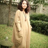 Wholesale Original New Women Linen Casual Gown Literary Loose Long Sleeve Round Neck Fool Length Plus Size Solid Color Robe Spring