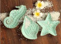 Wholesale 3 SET Ceramic Plates Decorative Designer Dishes Starfish Seashell Seahorse Irregular Green Ocean Series Small Dinner Plate