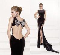 Cheap 2015 Tarik Ediz Prom Dresses Backless Black Evening Gowns Slit Mermaid Sleeveless Long Formal Dresses