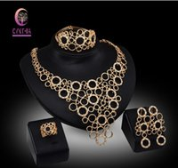 Wholesale Bridal Jewelry Sets Nigerian Wedding African beads jewelry set crystal k gold plated jewelry wedding accessories party