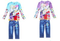 blue jean skirts - My Little Pony Children s Autumn winter clothing Sets Girls Clothes Long Sleeve Skirt With Jean Pants Trousers children s ski suit