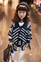 Wholesale Long Sleeve T Shirts Child Shirt Kids V Neck Shirts Girl Clothes Knitted Cardigan Children Clothing Girls Black Shirt Fashion Casual Shirts