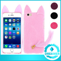 artificial cat tails - 100x D Cute Charming Soft Artificial Fur Plush Cat Ear Tail Case Cases Cover For iPhone s s s Plus Series Black White Pink Red