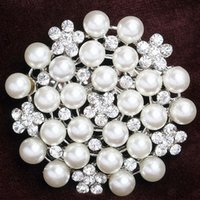 asian bridal dress - Women Gift Silver Pearl Rhinestone Flower Brooch For Wedding Bridal Dresses Hijab Clip Scarf Buckle Pins