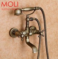 bath bronze - Antique bathtub faucet wall telephone bath shower faucets with hand shower