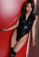 Wholesale 151204 Latex Leotard Body Suit Lady Sexy Black Leather Latex Catsuit Crotchless Fetish Lingerie Teddy Open Crotch Sex Suits