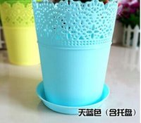 Wholesale FBH052742 pieces The balcony lace crown resin flower pot gardening plastic plant flowers hollow out