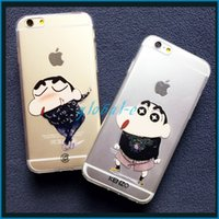 Wholesale New Cute Cartoon Character Painted Skin Chibi Maruko Chan Crayon Shin chan Case Crystal Clear Transparent TPU Back Cover for iPhone Plus