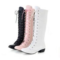 achat en gros de zip talons-Chaussures Femmes Chaussures Chaussures Low Cuban Heel Lace Up Zip Genou Haut Bottes Toutes Taille B012