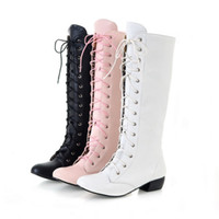 Wholesale Hot Fashion Women s Shoes Low Cuban Heel Lace Up Zip Knee High Riding Boots All Size B012