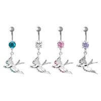 bell bird - 2015 Body Piercing Jewelry Sweet Cute Swallow Bird Belly Button Ring Charm Navel Piercing Bars Piercings Helix