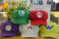 Wholesale Super Mario Bros Anime Cosplay Caps Halloween Caps Cotton Hat Super Mario and Luigi Caps Colors