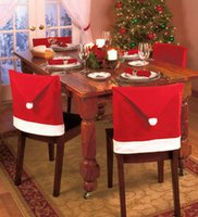 Wholesale 4pcs Santa Clause Red Hat Christmas cap chair sets Chair Back Covers Christmas Dinner Table Party Decor Gift christmas ornament party decora